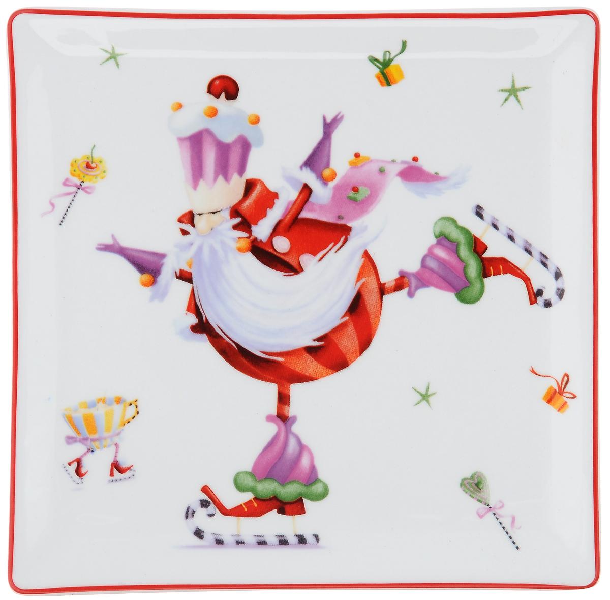 Блюдо Azulejo Espanol Merry Santa, квадратное, 15 х 15 см216744-1506..Блюдо Azulejo Espanol Merry Santa квадратной формы изготовлено из качественной глазурованной керамики. Изделие декорировано забавными новогодними рисунками. Такое блюдо предназначено для сервировки нарезок, закусок, солений. Оно красиво дополнит сервировку стола и станет полезным приобретением для любой хозяйки. Не рекомендуется использовать в микроволновой печи и мыть в посудомоечной машине.