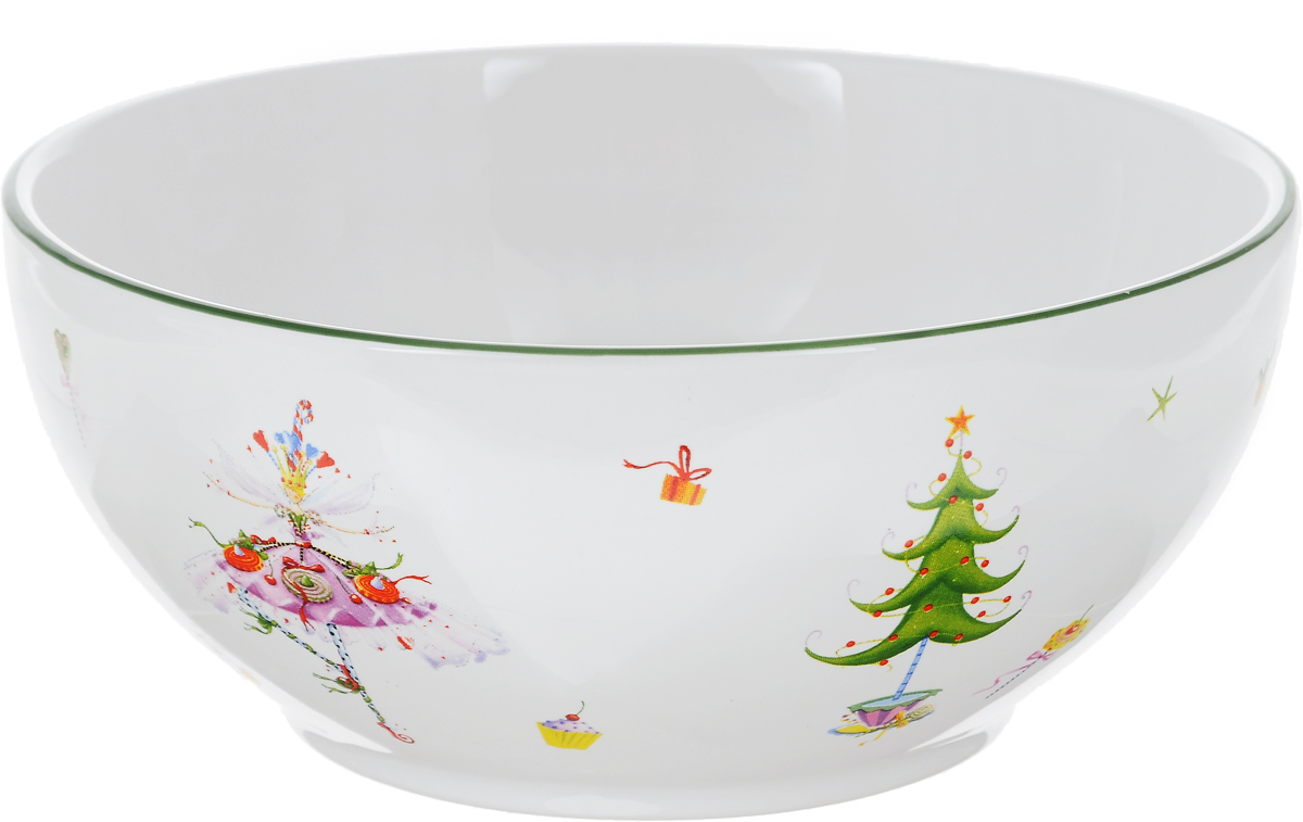 """Салатник Azulejo Espanol """"Dancing Lady"""" изготовлен из качественной  глазурованной керамики. Внешние стенки изделия декорированы красивыми  новогодними рисунками. Такой салатник идеально подойдет для сервировки  салатов, различных закусок и солений.  Изделие красиво дополнит сервировку стола и станет полезным приобретением  для любой хозяйки.  Не рекомендуется использовать в микроволновой печи и мыть в посудомоечной  машине."""
