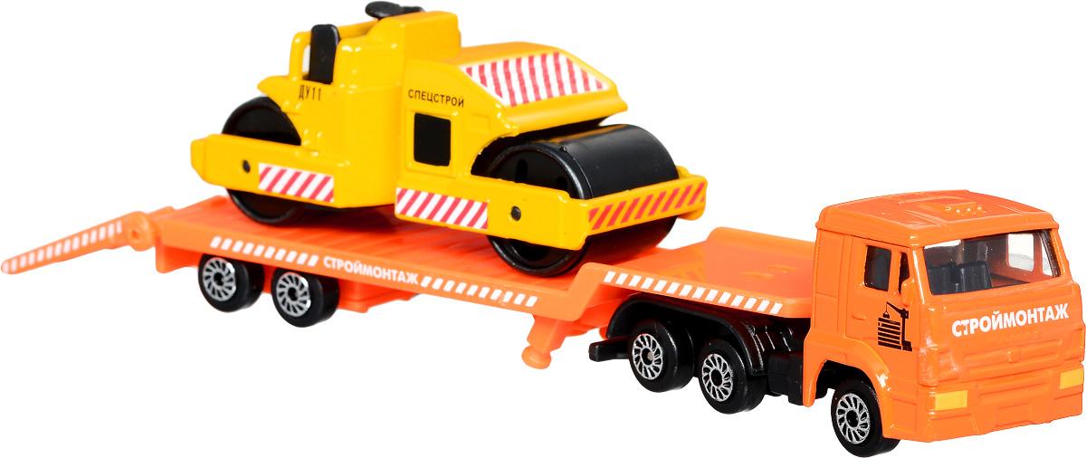 машинки игрушечные машинки поли робокар ТехноПарк Набор машинок КамАЗ Транспортер с катком 2 шт