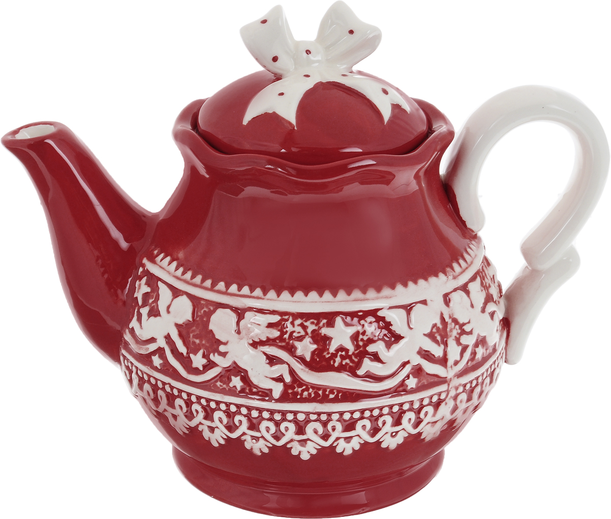 Чайник заварочный Family & Friends Рождественский узор, 1 лNH15B610R..Чайник заварочный Family & Friends Рождественский узор изготовлен из качественной глазурованной керамики. Внешние стенки изделия декорированы красивым рельефным орнаментом в виде ангелочков. Чайник снабжен удобной ручкой, носиком и крышкой. Такой заварочный чайник красиво дополнит сервировку стола к чаепитию и станет полезным приобретением для любой хозяйки. Отличный подарок к любому случаю. Не рекомендуется использовать в микроволновой печи и мыть в посудомоечной машине.