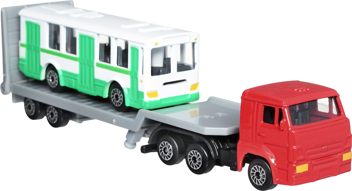 ТехноПарк Набор машинок КамАЗ Транспортер с автобусом 2 шт технопарк набор машинок транспортер военный камаз с лодкой 2 шт