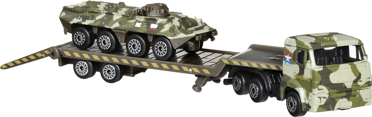 ТехноПарк Набор машинок КамАЗ Транспортер с бронетранспортером 2 шт технопарк набор машинок транспортер военный камаз с лодкой 2 шт