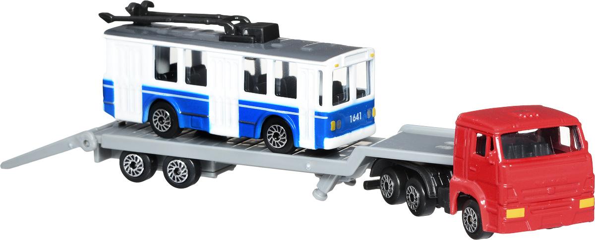 ТехноПарк Набор машинок КамАЗ Транспортер с троллейбусом 2 шт технопарк набор машинок транспортер военный камаз с лодкой 2 шт