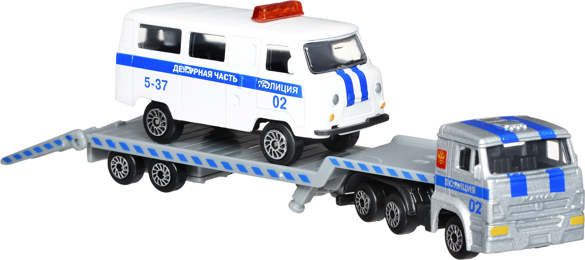 ТехноПарк Набор машинок Транспортер КамАЗ с микроавтобусом УАЗ Дежурная часть 2 шт игровые наборы технопарк игровой набор дежурная часть