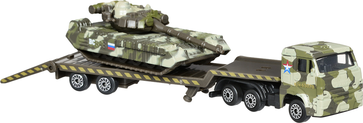 ТехноПарк Набор машинок Транспортер КамАЗ с танком 2 шт технопарк набор машинок транспортер военный камаз с лодкой 2 шт