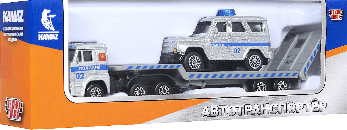 ТехноПарк Набор машинок КамАЗ Транспортер с УАЗом Полиция 2 шт ТехноПарк