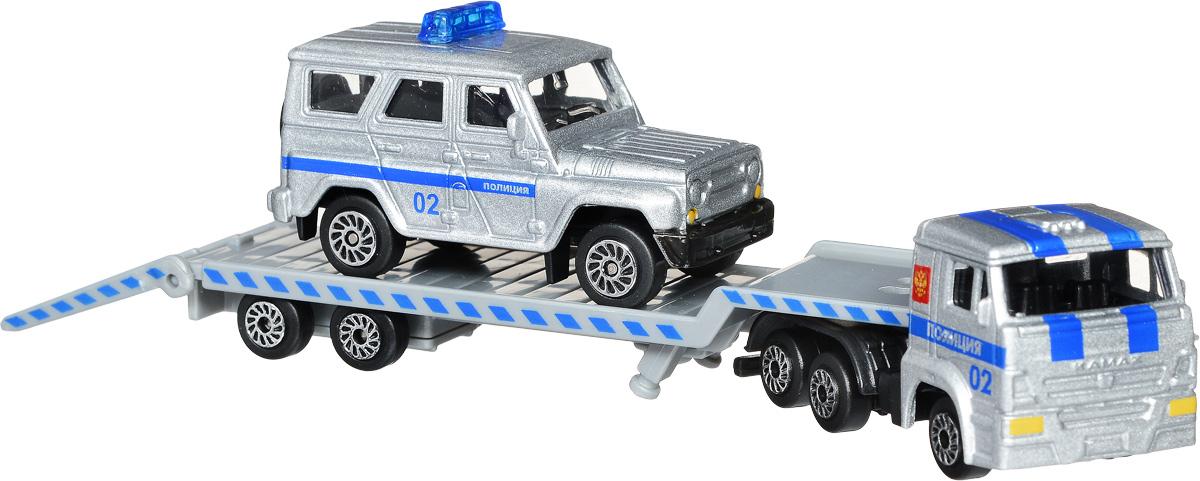 ТехноПарк Набор машинок КамАЗ Транспортер с УАЗом Полиция 2 шт машинки технопарк набор из 2 х металлических моделей технопарк уаз полиция