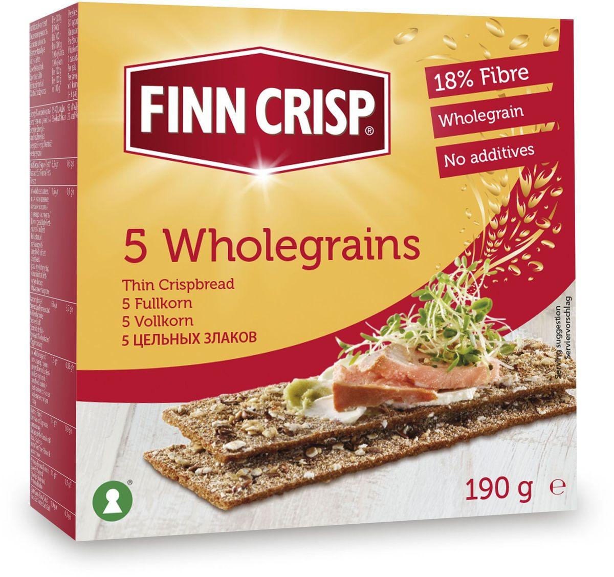 Finn Crisp 5 Wholegrain хлебцы 5 цельных злаков, 190 г finn crisp traditional хлебцы традиционные 200 г