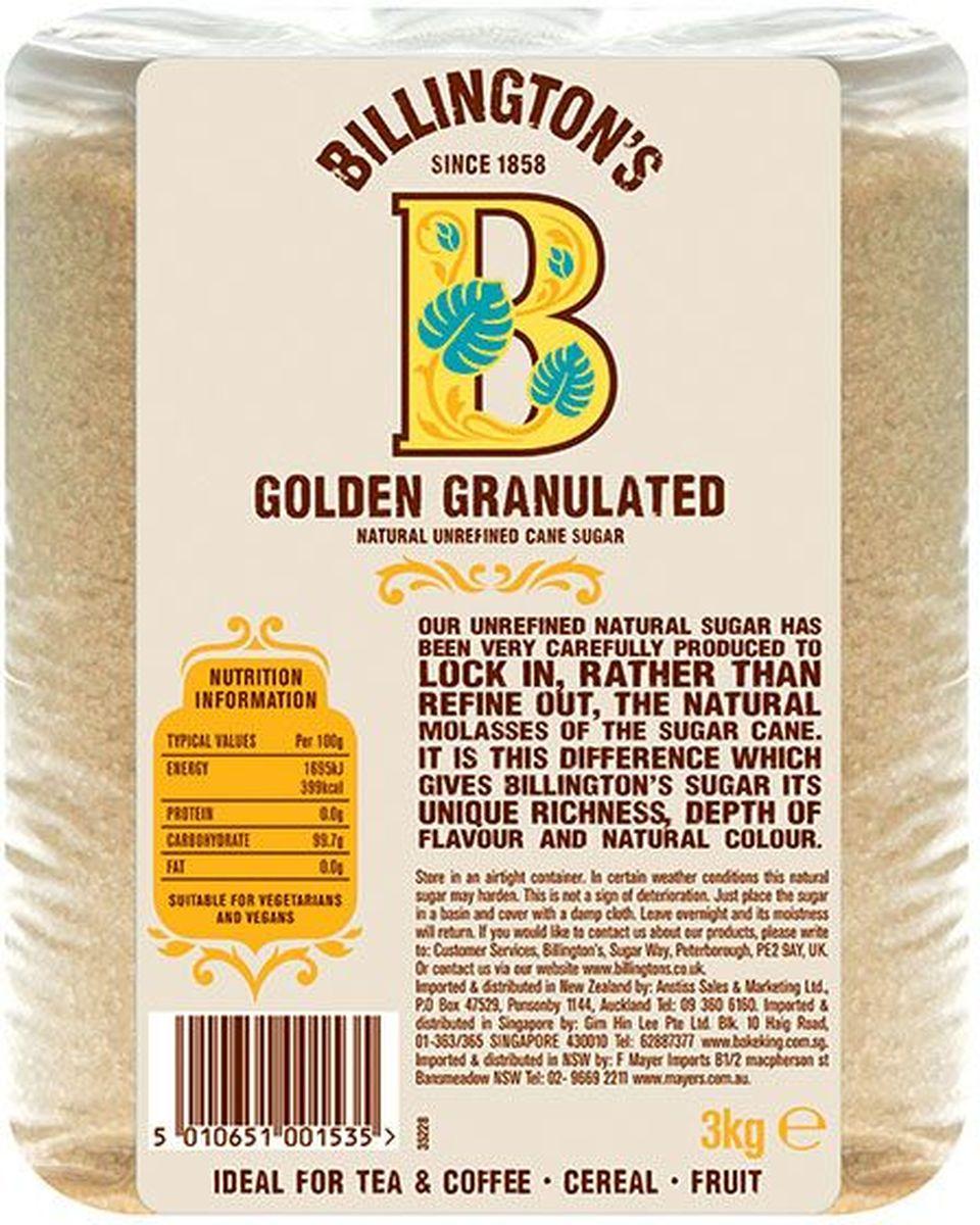 Billingtons Golden Granulated сахар нерафинированный, 3 кг28116Высококачественный сахар Billington's производят из элитных сортов тростника, который подвергается минимальной технической обработке (не пропускают через костяные фильтры), что позволяет сохранить природные минералы, придающие продукту характерный вкус и запах. Нерафинированный коричневый тростниковый сахар содержит в своем составе кальций, железо, магний, фосфор, калий и даже протеины, которые полностью отсутствуют в обычном сахаре.