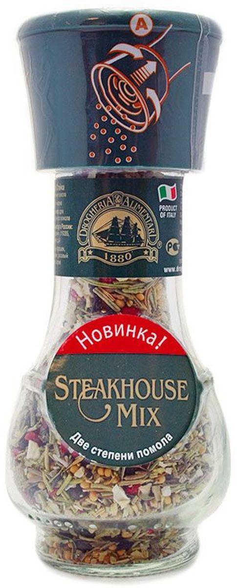 Drogheria е Alimentari мельница две степени помола смесь для стейка, 38 г72202Мельницы Drogheria & Alimentari раскроют уникальный аромат каждой специи и пряности непосредственно в процессе приготовления любимого блюда. Уникальная мельница Drogheria & Alimentari позволяет выбрать необходимую степень помола - крупную или мелкую. С её помощью можно без усилий перемолоть даже самые твердые частички. Компания Drogheria & Alimentari, основанная в 1880 году во Флоренции, в настоящее время обладает самыми большими производственными мощностями в Европе.Приправы для 7 видов блюд: от мяса до десерта. Статья OZON Гид