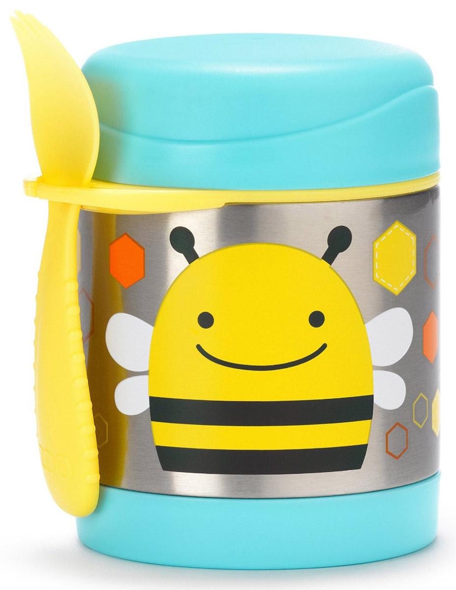 """Термос Skip Hop """"Пчела"""" с широким горлышком понравится вам своей практичностью. Корпус термоса, выполненный из прочного металла и украшенный милым детским рисунком, гарантирует максимальную гигиену и надежность. Термос закрывается плотной крышкой.  Термос Skip Hop максимально удобный и безопасный в эксплуатации.  Термос можно использовать как контейнер для детских каш. В наборе с термосом имеется удобная широкая ложечка с маленькими зубчиками, как у вилки. Ложку можно привесить к термосу, вставив её в удобное крепление.  Небольшой объем позволяет брать термос с собой на прогулки или на учебу.  Термос на протяжении пяти часов сохраняет холодную температуру продуктов и на протяжении семи часов - горячую.  Рекомендовано для детей от 1 года."""