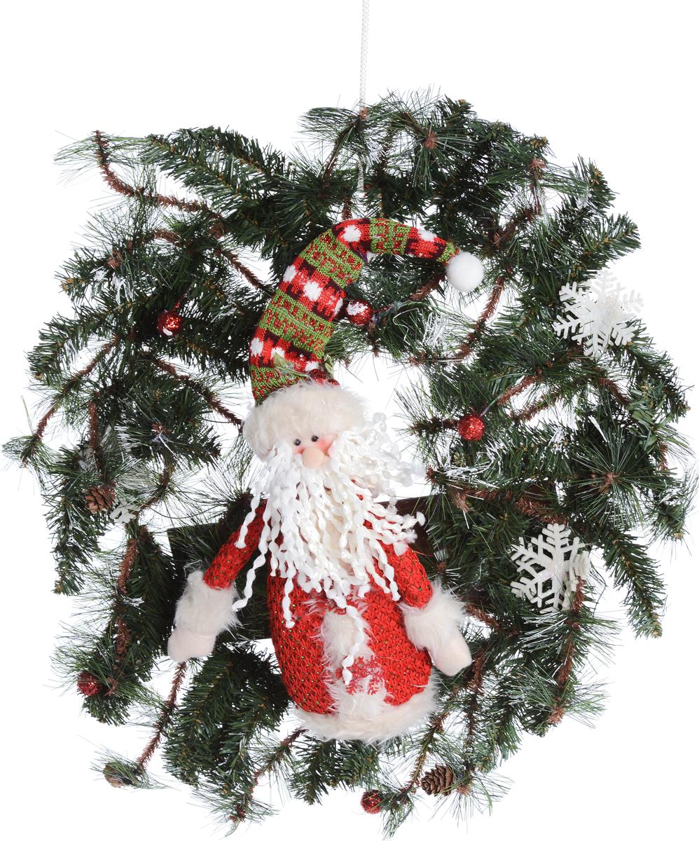 Венок новогодний Рождественский венок, с подсветкой, цвет: зеленый, красный, 56 х 10 х 56 см75231Декоративное украшение Рождественский венок дополнит интерьер любого помещения в преддверии Нового года, а также может стать оригинальным подарком для ваших друзей и близких. Композиция выполнена в виде венка с искусственными елочными ветками и фигуркой Деда Мороза. Ветки украшены шишками и снежинками. Изделие оснащено яркой подсветкой. Оформление помещения декоративным венком создаст праздничную, по-настоящему радостную и теплую атмосферу.Подсветка работает от 3 батареек типа АА.