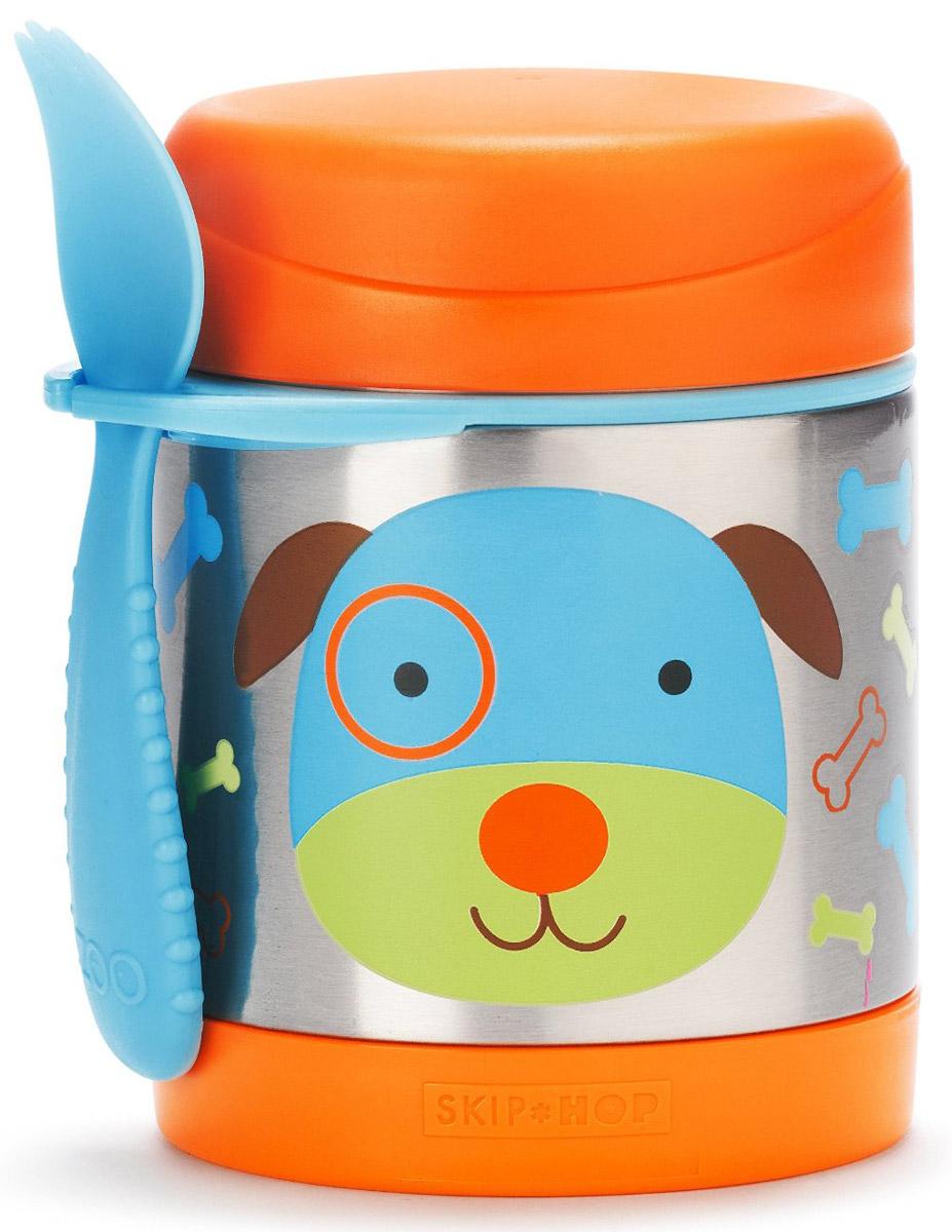 """Термос Skip Hop """"Собачка"""" с широким горлышком понравится вам своей практичностью. Корпус термоса, выполненный из прочного металла и украшенный милым детским рисунком, гарантирует максимальную гигиену и надежность. Термос закрывается плотной крышкой.  Термос Skip Hop максимально удобный и безопасный в эксплуатации.  Термос можно использовать как контейнер для детских каш. В наборе с термосом имеется удобная широкая ложечка с маленькими зубчиками, как у вилки. Ложку можно привесить к термосу, вставив её в удобное крепление.  Небольшой объем позволяет брать термос с собой на прогулки или на учебу.  Термос на протяжении пяти часов сохраняет холодную температуру продуктов и на протяжении семи часов - горячую.  Рекомендовано для детей от 1 года."""