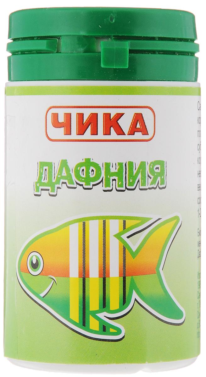 Корм для рыб Чика Дафния, 85 мл4607045060790Чика Дафния - это самый распространенный и популярный универсальный корм для рыб всех видов и возрастов. Изготовлен из планктонных пресноводных рачков дафния методом сублимированной сушки. Предназначен для ежедневного кормления, охотно поедается рыбами, содержит необходимый для рыб натуральный белок и натуральные вещества. Дафния считается одним из наиболее близких по составу и свойствам к естественным кормам для рыб. Такой корм дают 1-2 раза в день по 1/4 чайной ложки на 4-5 рыб.Товар сертифицирован.