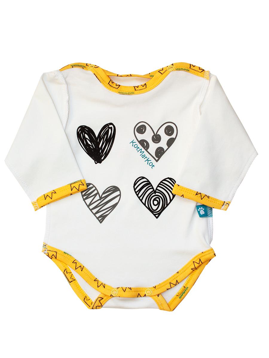 Боди для девочки КотМарКот Корона, цвет: белый, желтый. 9874. Размер 80, 9-12 месяцев9874Боди для девочки КотМарКот Корона выполнено из натурального хлопка. Модель с длинными рукавами и круглым вырезом горловины оформлена принтом в виде сердечек. Удобные застежки-кнопки по плечам и на ластовице помогут легко переодеть ребенка.