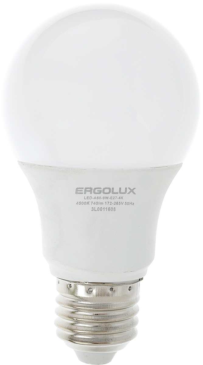 Лампа светодиодная Ergolux, цоколь E27, 9W, 4500К12412Светодиодная лампа Ergolux - новое решение в светотехнике. Светодиодная лампа экономит много электроэнергии благодаря низкой потребляемой мощности. Она идеальна для основного и акцентного освещения интерьеров, витрин, декоративной подсветки. Кроме того, создает уютную атмосферу и позволяет экономить электроэнергию уже с первого дня использования.Не содержит ртути и не требует переработки. Срок службы в 2,5-3 раза дольше энергосберегающей лампы и в 30 раз дольше лампы накаливания. Высокая ударопрочность благодаря металло-пластиковому корпусу. Мгновенное включения. Без мерцания. Напряжение: 172-265 В. Угол светового пучка: 270°. Эффективность: 82 лм/Вт.Тип: А60. Индекс цветопередачи: 77+.Рабочая температура: -30 - +40°С.