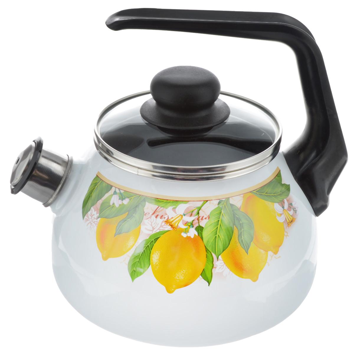 Чайник эмалированный Vitross Limon, со свистком, 2 л1RA12Чайник эмалированный Vitross Limon изготовлен из высококачественного стального проката со стеклокерамическим эмалевым покрытием. Корпус оформлен красочным цветочным рисунком. Стеклокерамика инертна и устойчива к пищевым кислотам, не вступает во взаимодействие с продуктами и не искажает их вкусовые качества. Прочный стальной корпус обеспечивает эффективную тепловую обработку пищевых продуктов и не деформируется в процессе эксплуатации.Чайник оснащен удобной пластиковой ручкой черного цвета. Крышка чайника выполнена из стекла. Носик чайника с насадкой-свистком позволит вам контролировать процесс подогрева или кипячения воды. Чайник пригоден для использования на всех видах плит, включая индукционные. Можно мыть в посудомоечной машине. Диаметр (по верхнему краю): 12,5 см.Высота чайника (с учетом ручки): 21 см.Высота чайника (без учета ручки и крышки): 12,5 см.