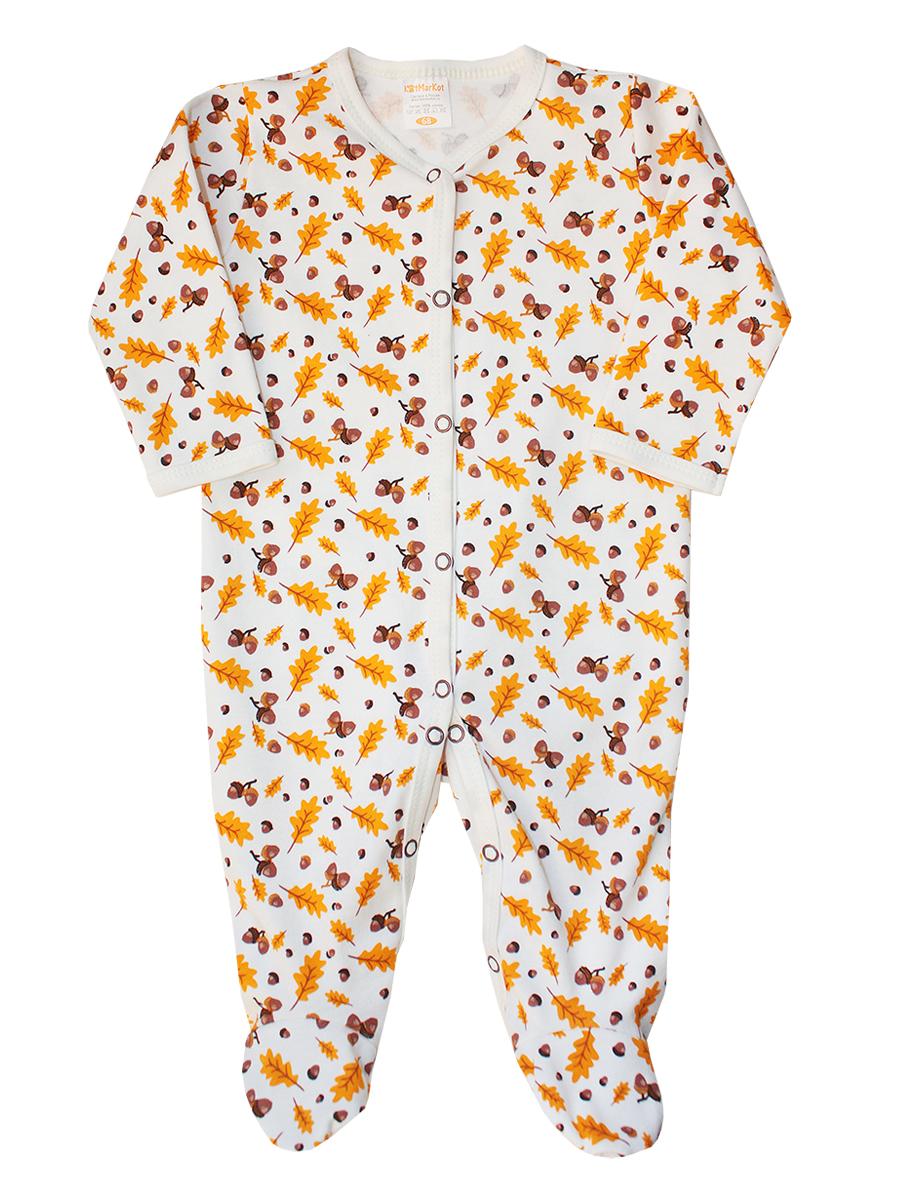 Комбинезон детский КотМарКот Дуб'ОК, цвет: оранжевый, коричневый, белый. 6269. Размер 80, 9-12 месяцев