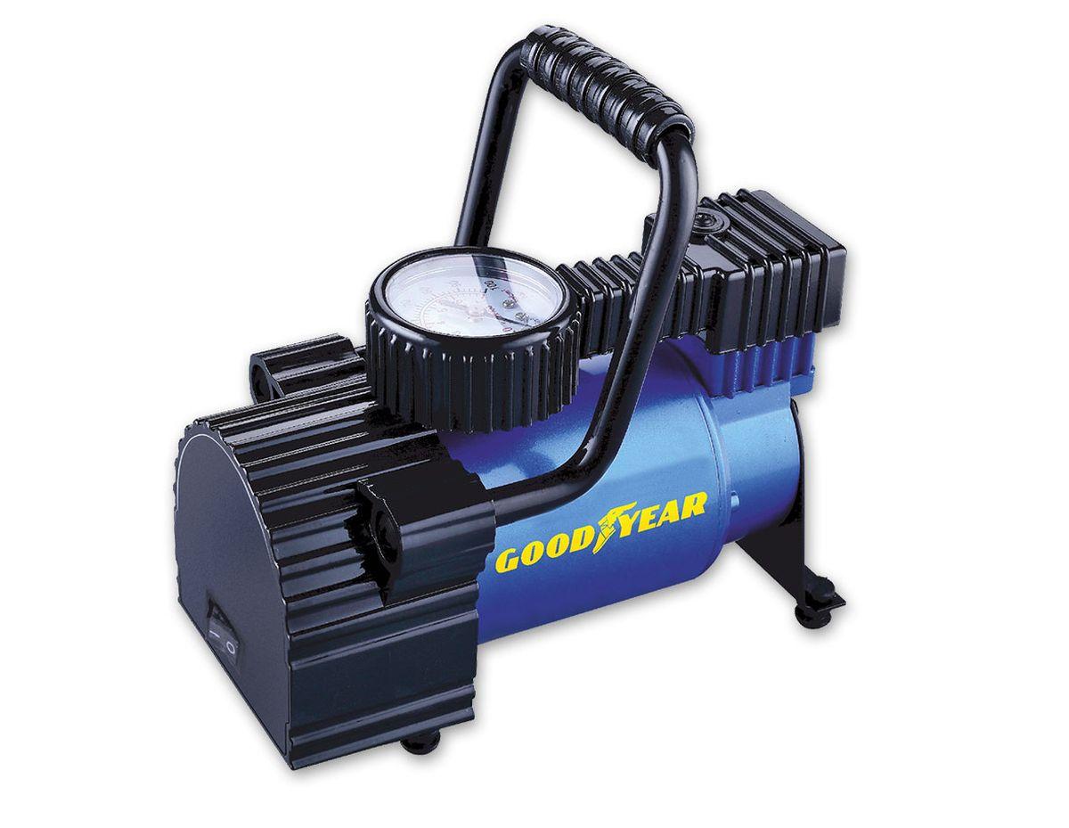 Компрессор воздушный Goodyear GY-30L, 30 л/минGY000101Классический поршневой компрессор со стандартной производительностью для накачивания автомобильных шин , колес, велосипедов, мячей и матрацев. Эргономичная конструкция с разборной ручкой, а так же матерчатой сумкой в комплекте, позволяет спрятать компрессор в любую нишу автомобиля.• Не требует обслуживания• Накачивает колесо R-16 за 5 минут• Высокоточный манометр• Сумка и набор переходников в комплекте• Флажковый предохранитель в капсуле на контактном проводе• Расширенная гарантия (3 года)• Оригинальный лицензированный продукт