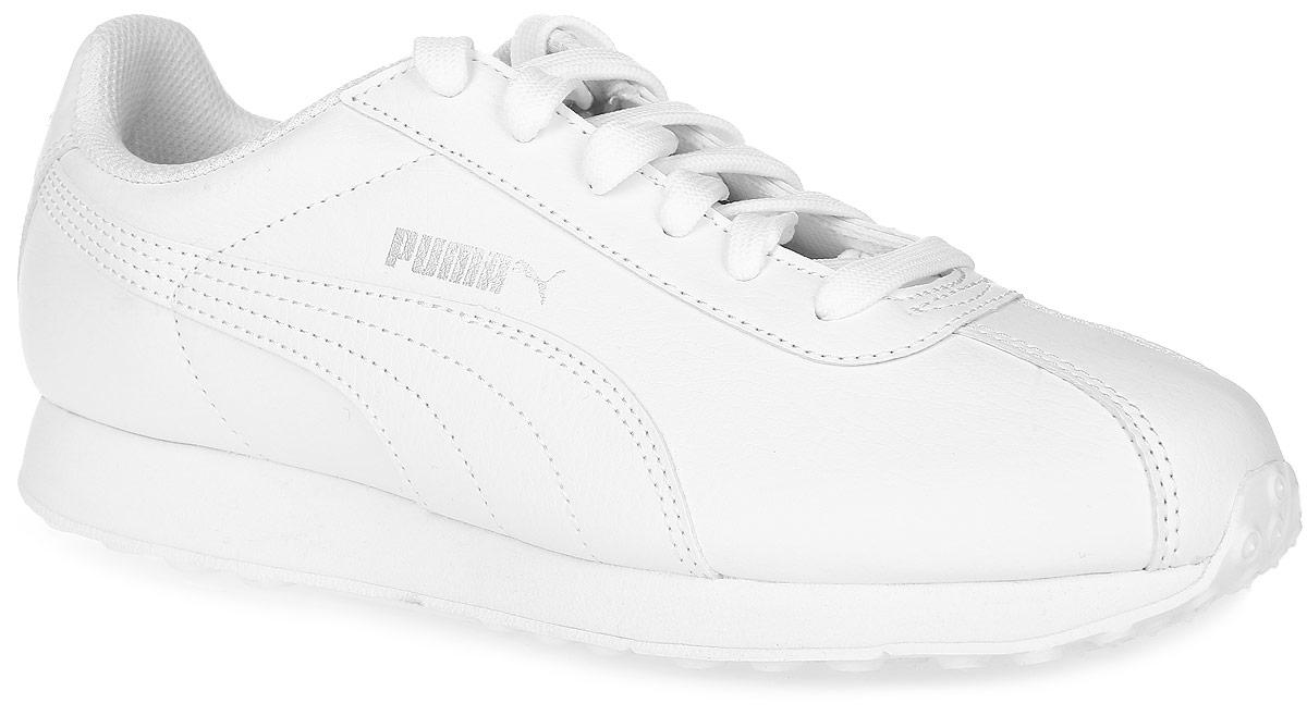 Кроссовки женские Puma Turin, цвет: белый. 36011605. Размер 10,5 (44)36011605Кроссовки Puma Turin - это универсальные кроссовки, вдохновленные классическими футбольными моделями. Благодаря мягкой искусственной коже верха и амортизирующей промежуточной подошве из этиленвинилацетата эта модель дарит комфорт, сохраняя все признаки классической спортивной обуви, и при этом прекрасно подходит для повседневной носки. Закрытый верх идеально подойдет в ненастную погоду и отлично впишется в любой гардероб. Мягкие и удобные, они подарят вам свободу движений и превосходно подчеркнут ваш спортивный образ.