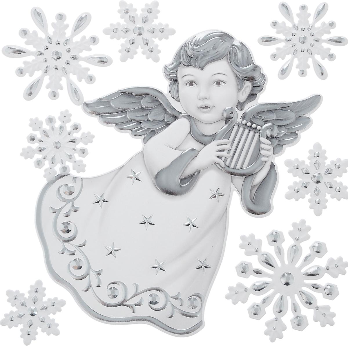 Украшение оконное новогоднее Christmas Time Ангел, 8 шт70779Набор Christmas Time Ангел состоит из 8 наклеек на окно, выполненных из ПВХ. С помощью декоративных наклеек можно составлять на стекле целые зимние сюжеты, которые будут радовать глаз, и поднимать настроение в праздничные дни! Так же вы можете преподнести этот сувенир в качестве мини-презента коллегам, близким и друзьям с пожеланиями счастливого Нового Года!Размер ангела: 14 х 15,5 см. Средний размер снежинок: 4 х 4,5 см.