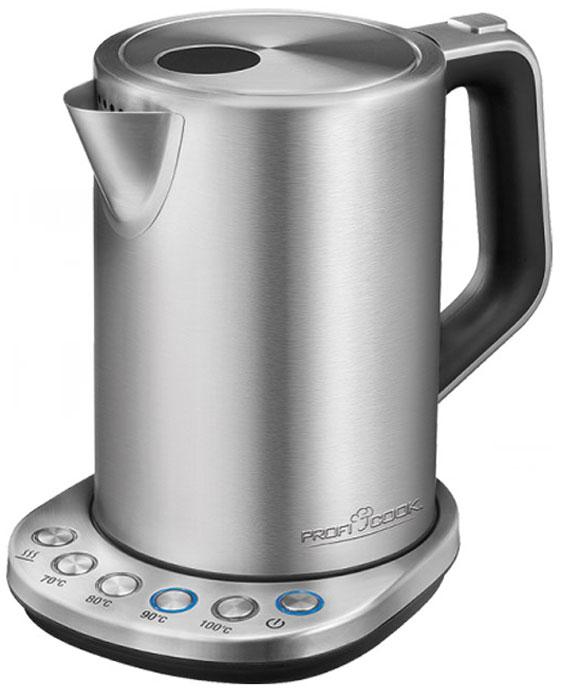 Profi Cook PC-WKS 1108 чайникPC-WKS 1108Стильный чайник Profi Cook PC-WKS 1108 в корпусе из высококачественнойнержавеющей стали. Он нетолько станет вашим главным помощником на кухне, но и украсит ее. Скрытый нагревательный элемент устройства выполнен из нержавеющей стали,что гарантирует его надежностьи долговечность. Чайник очень удобно использовать благодаря круглойподставке (на ней прибор можноповорачивать на 360°). Благодаря мощности в 3000 Вт чайник за считанныеминуты вскипятит воду. Регулировкатемпературы позволяет выбрать оптимальную температуры нагрева воды 70°C,80°C, 90°C или 100°С, такжечайник имеет функцию поддержания температуры воды.