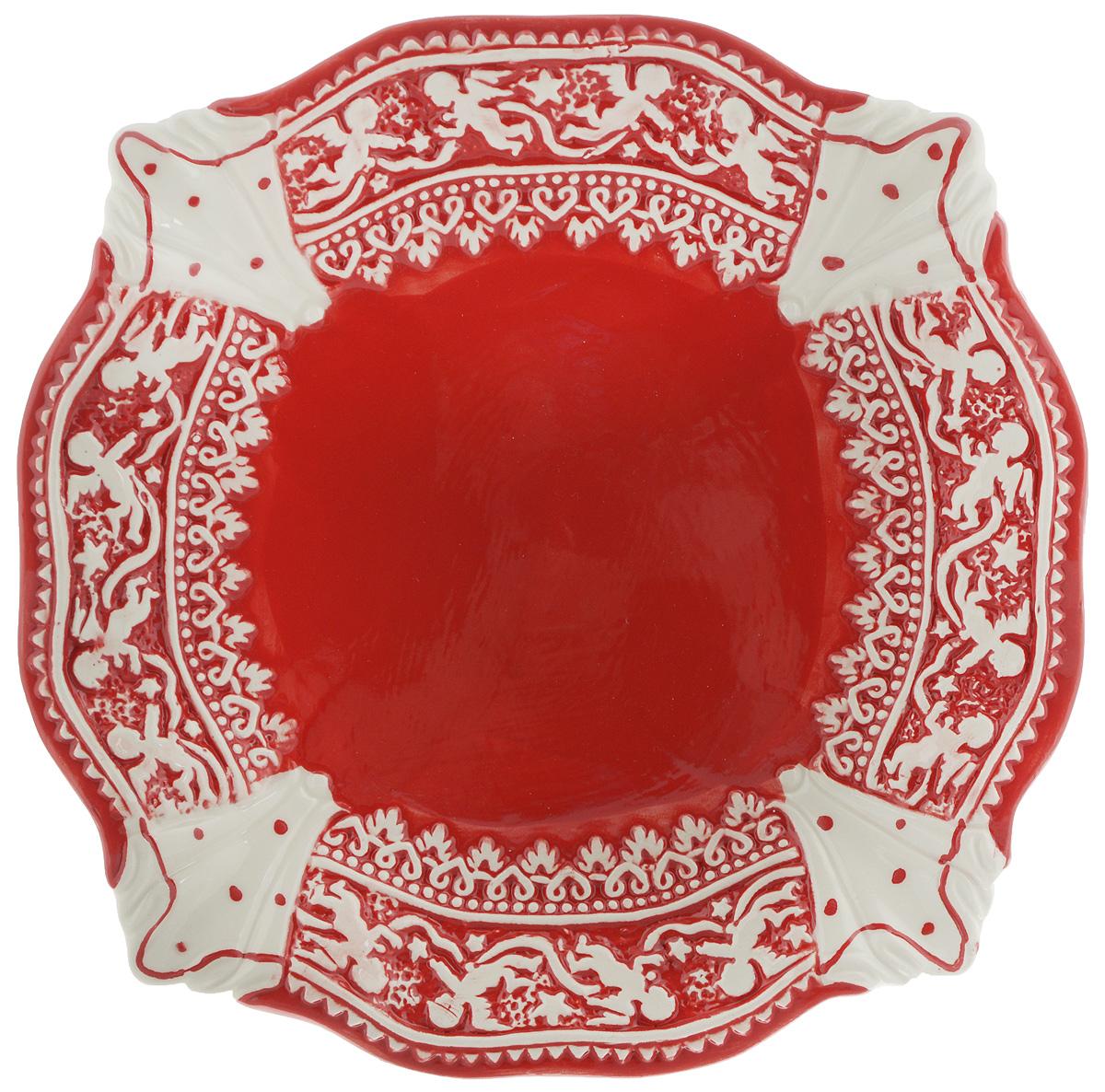 Тарелка Family & Friends Рождественский узор, 20 х 20 см. NH15B604-3NH15B604-3..Тарелка Family & Friends Рождественский узор изготовлена из качественной глазурованной керамики. Изделие декорировано красивым рельефным орнаментом в виде ангелочков. Такая тарелка отлично подойдет в качестве блюда для сервировки закусок и нарезок, ее также можно использовать как обеденную. Тарелка Family & Friends Рождественский узор будет потрясающе смотреться на новогоднем столе. Яркий запоминающийся дизайн и качество исполнения сделают ее отличным новогодним подарком. Не рекомендуется использовать в микроволновой печи и мыть в посудомоечной машине.