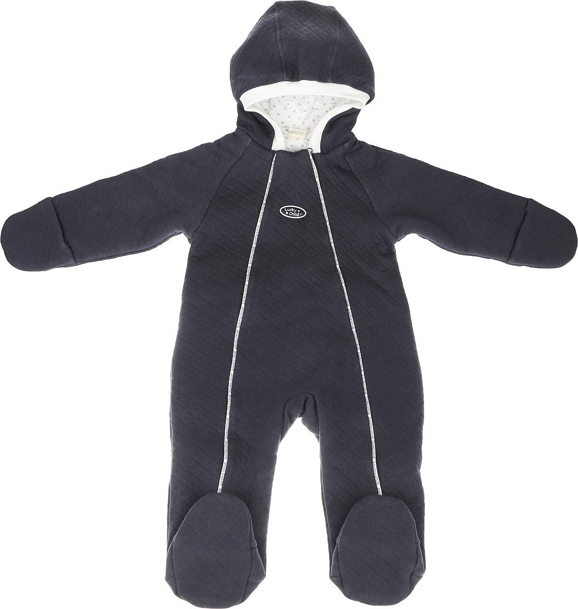 Комбинезон детский Lucky Child, цвет: темно-синий. 33-6. Размер 74/80 чехол для meizu m3 note gecko flip белый