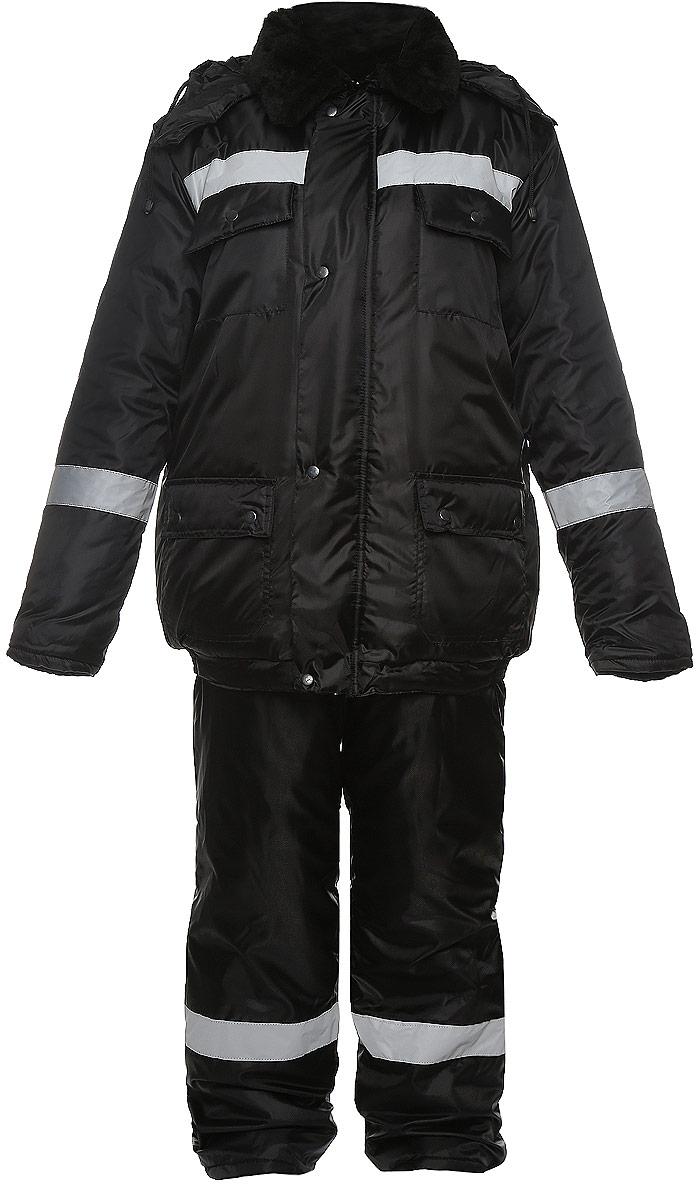 Костюм рыболовный мужской Рыболов: куртка, полукомбинезон, цвет: черный. Размер 56/58, рост 170/176РыболовМужской утепленный костюм Рыболов выполнен из ветрозащитной и влагонепроницаемой ткани - высококачественного полиэстера. В качестве утеплителя используется термофайбер. Утеплитель термофайбер изготовлен по технологии термофиксации с применением извитых полых волокон. Костюм состоит из куртки и полукомбинезона. Куртка с отложным воротником и съемным капюшоном, дополненным шнурком, застегивается на застежку-молнию и дополнительно на ветрозащитный клапан с кнопками. Капюшон оснащен застежками-кнопками. Внутренняя сторона воротника выполнена из мягкой ткани - поларфлис. Спереди расположены четыре накладных кармана с клапанами на кнопках. Манжеты рукавов дополнены трикотажными напульсниками. Низ куртки присборен на резинки. Полукомбинезон застегивается на застежку молнию. Спереди расположены два накладных кармана с клапанами, на груди - два накладных открытых кармана. Изделие оснащено эластичными регулирующими лямки с застежками-фактекс. На спинке, по линии талии изделие присборено на резинки. Светоотражающие нашивки увеличат вашу безопасность в темное время суток.