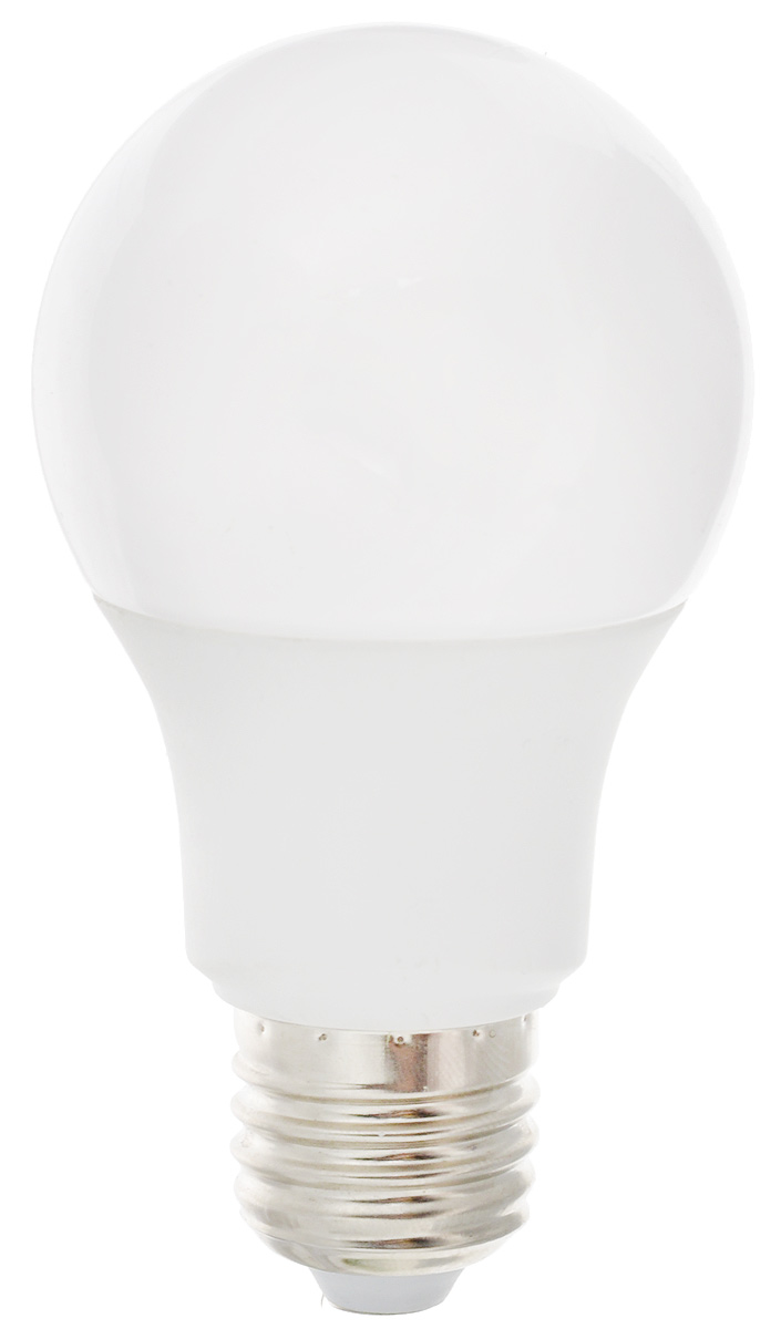 Лампа светодиодная Ergolux LED-A60-9W-E27-3K, теплый свет, цоколь Е27, 9 Вт12411Лампа светодиодная Ergolux - новое решение в светотехнике. Светодиодная лампа экономит до 90% электроэнергии благодаря низкой потребляемой мощности. Лампа не содержит ртути и других вредных веществ, экологически безопасна и не требует утилизации. Срок службы в 2,5-3 раза дольше энергосберегающей лампы и в 30 раз дольше лампы накаливания. Обладает высокой ударопрочностью благодаря корпусу из пластика и металла. Мгновенно включается, не мерцает во время работы. Светодиодные лампы идеально подходят для основного и акцентного освещения интерьеров, витрин, декоративной подсветки. Кроме того, они создают уютную атмосферу и позволяют экономить электроэнергию уже с первого дня использования. Мощность: 9 Вт.Цоколь: Е27.Теплый свет: 3000К.Тип: А60. Эффективность: 78 лм/Вт. Световой поток: 700 лм.Напряжение: 172-265 В. Индекс цветопередачи (Ra): 77+.Угол светового пучка: 270°. Использовать при температуре: от -30° до +40°С.Коэффициент пульсации: <5%.