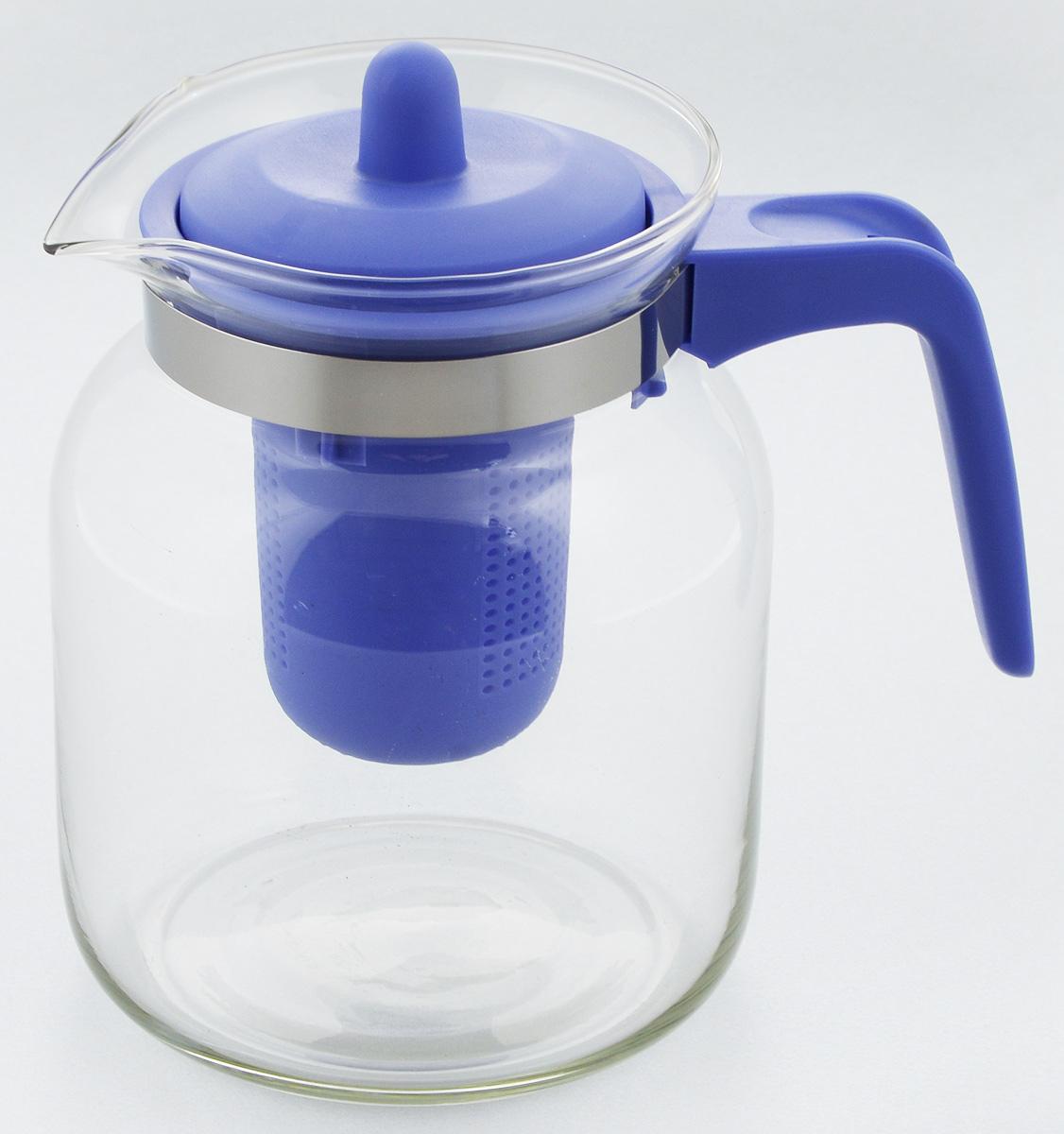 Чайник-кувшин Menu Чабрец, с фильтром, цвет: прозрачный, синий, 1,45 лCHZ-14_синийЧайник-кувшин Menu Чабрец изготовлен из прочного стекла, которое выдерживает температуру до 100°C. Он прекрасно подойдет для заваривания чая и травяных настоев.Классический стиль и оптимальный объем делают чайник удобным и оригинальным аксессуаром, который прекрасно подойдет для ежедневного использования. Ручка изделия выполнена из пищевого пластика, она не нагревается и обеспечивает безопасность использования. Благодаря съемному ситечку и оптимальной форме колбы, чайник-кувшин Menu Чабрец идеально подходит для использования его в качестве кувшина для воды и прохладительных напитков.Диаметр чайника по верхнему краю: 10,3 см.Общий диаметр чайника: 11 см.Высота чайника (без учета ручки и крышки): 15,6 см.Высота чайника (с учетом ручки и крышки): 17 см.
