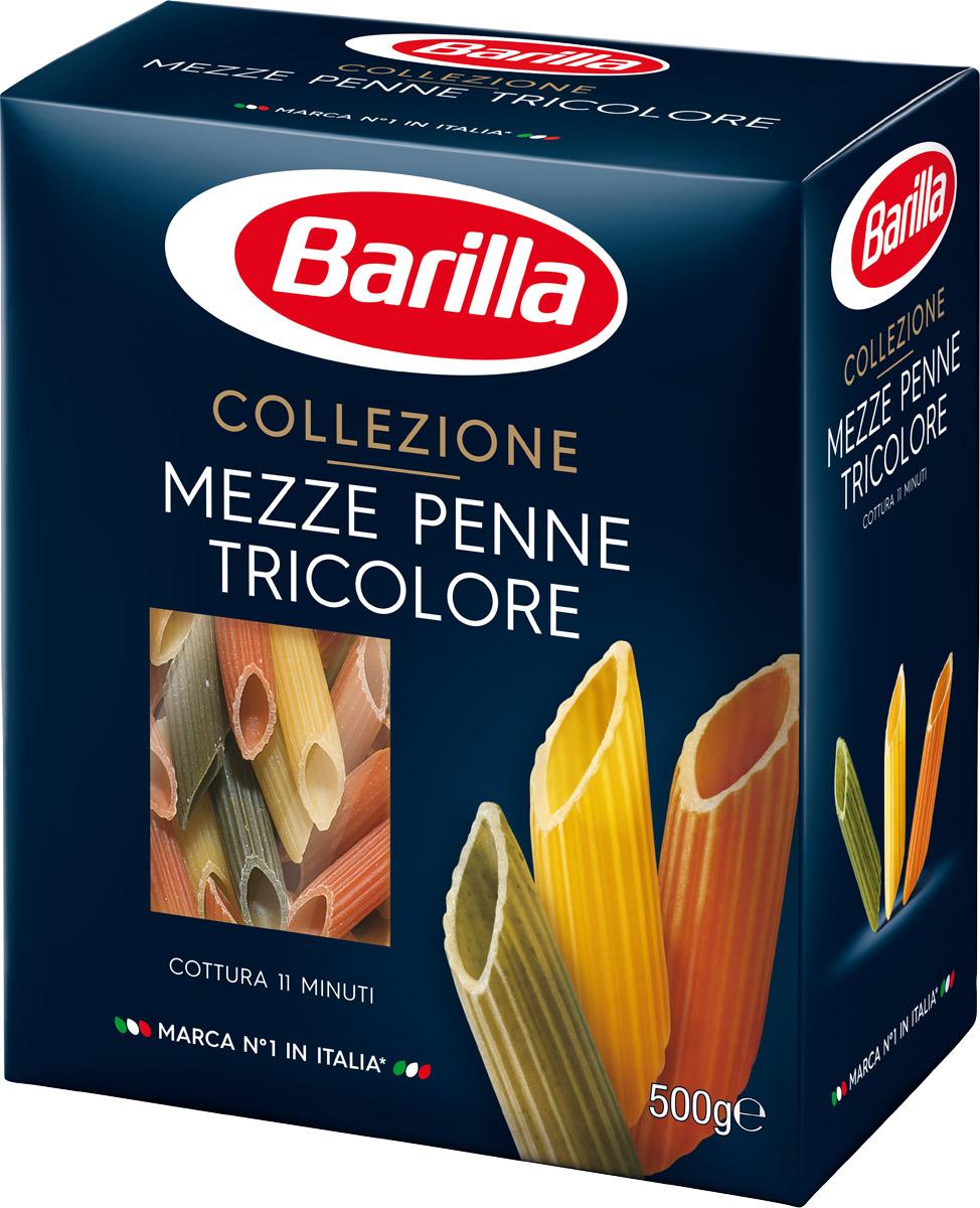Barilla Mezze Penne Tricolore паста мецце пенне трехцветные, 500 г melissa паста пенне ригате коричневые перья 500 г