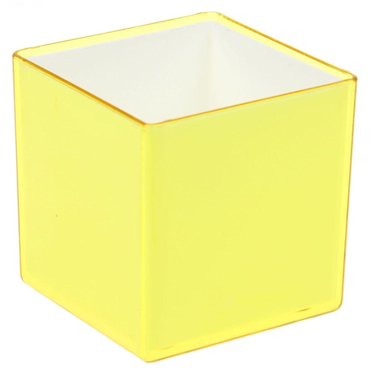 Кашпо JetPlast Мини куб, на магните, цвет: желтый, 6 x 6 x 6 см511-206Кашпо JetPlast Мини куб предназначено для украшения любого интерьера. Благодаря магнитной ленте, входящей в комплект, вы можете разместить его не только на подоконнике, столе или иной поверхности, а также на холодильнике и любой другой металлической поверхности, дополняя привычные вещи новыми дизайнерскими решениями. Кашпо можно использовать не только под цветы, но и как подставку для ручек, карандашей и прочих канцелярских мелочей. Размеры кашпо: 6 х 6 х 6 см.