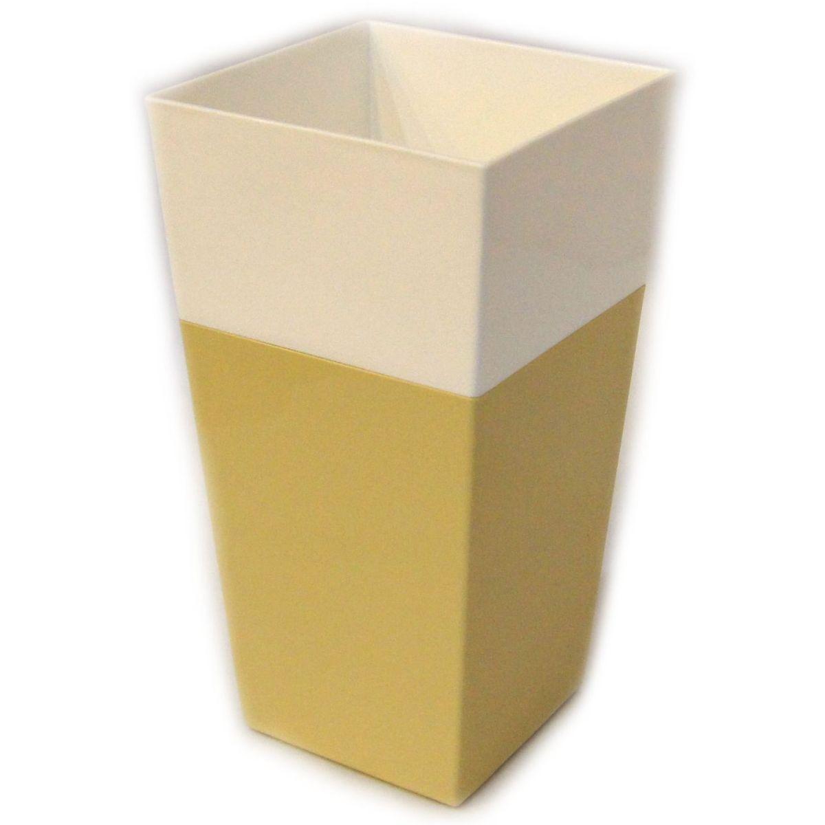 Кашпо JetPlast Дуэт, цвет: кремовый, белый, высота 34 см4612754052622Кашпо имеет строгий дизайн и состоит из двух частей: верхней части для цветка и нижней – поддона. Конструкция горшка позволяет, при желании, использовать систему фитильного полива, снабдив горшок веревкой. Оно изготовлено из прочного полипропилена (пластика).Размеры кашпо: 18 х 18 х 34 см.