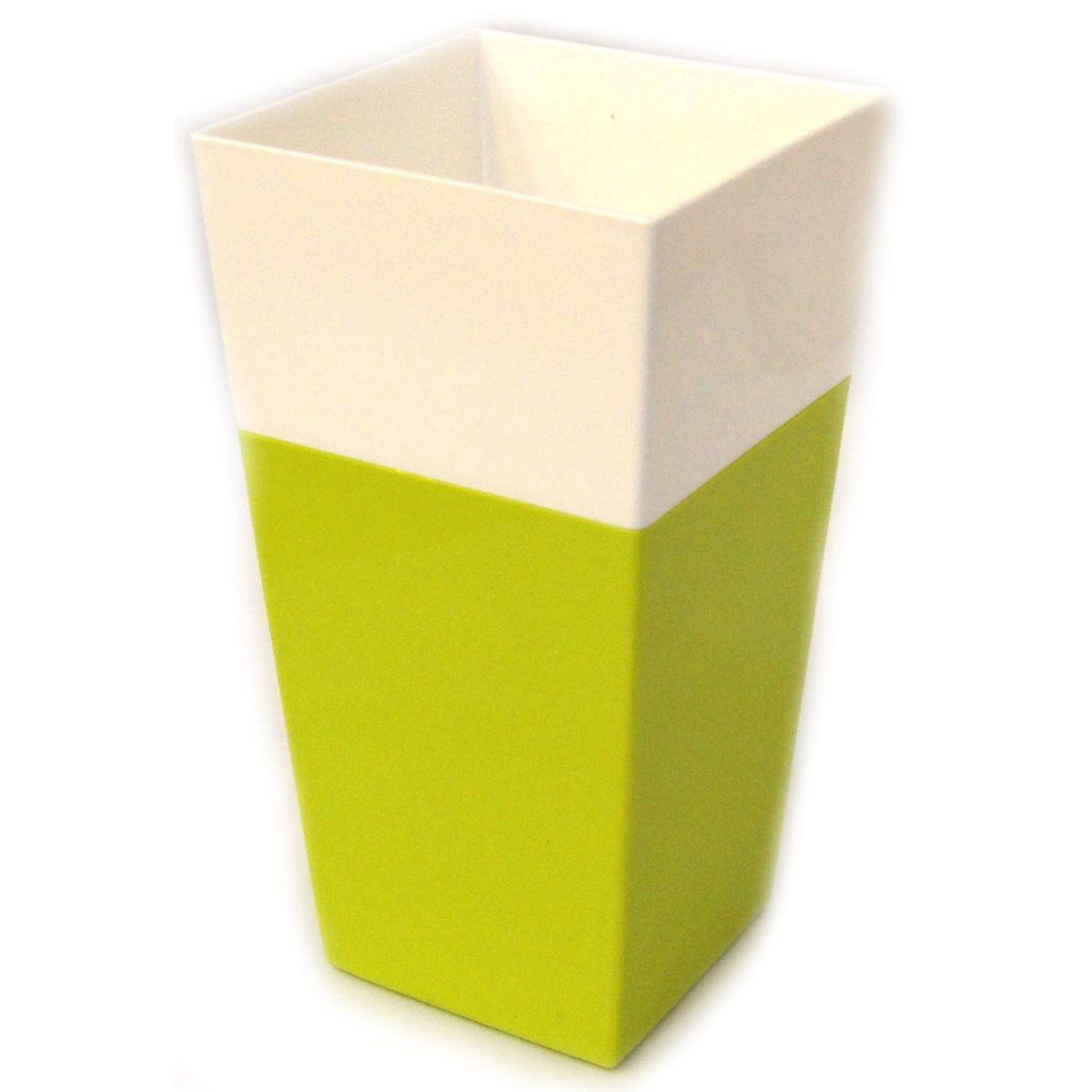 Кашпо JetPlast Дуэт, цвет: фисташковый, белый, высота 34 см4612754052660Кашпо имеет строгий дизайн и состоит из двух частей: верхней части для цветка и нижней – поддона. Конструкция горшка позволяет, при желании, использовать систему фитильного полива, снабдив горшок веревкой. Оно изготовлено из прочного полипропилена (пластика).Размеры кашпо: 18 х 18 х 34 см.