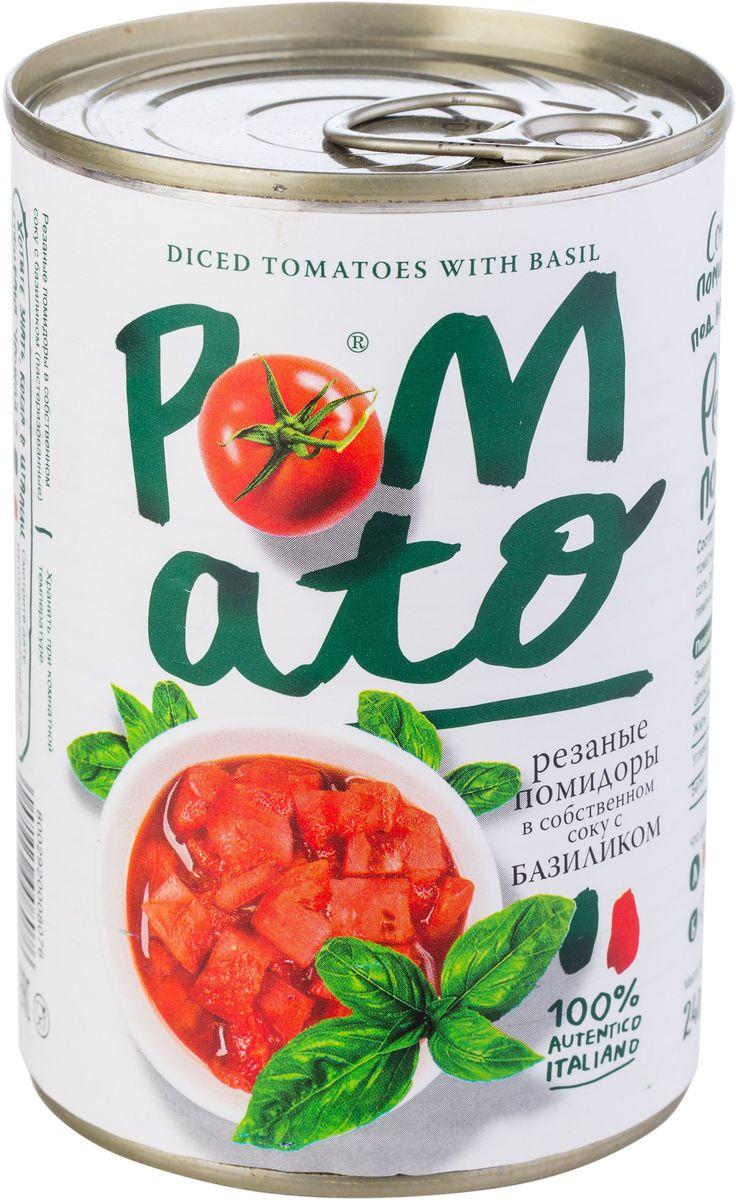 Pomato помидоры резаные в собственном соку с базиликом, 400 г13103Помидоры Pomato - сочные вкусные итальянские помидоры, выращенные под неаполитанским солнцем на вулканических почвах у подножия Везувия. Только отборные помидоры, бережно упакованные в течение нескольких часов после сбора.