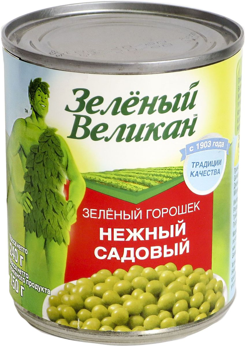 Зеленый великан горошек садовый, 240 г18111Горошекнежный,специальной консервации, очень хорош для салатов, и каксамостоятельное блюдо или гарнир.