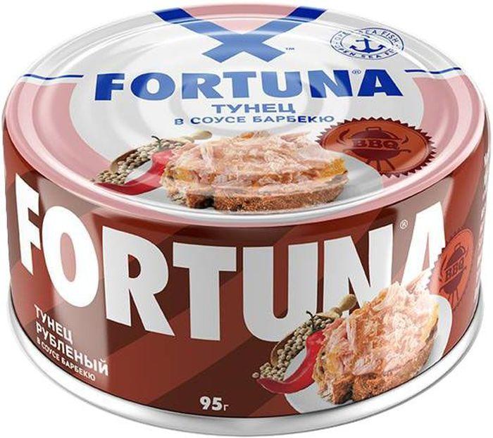 Fortuna тунец рубленый в соусе барбекю, 95 г fortuna паштет из тунца 110 г