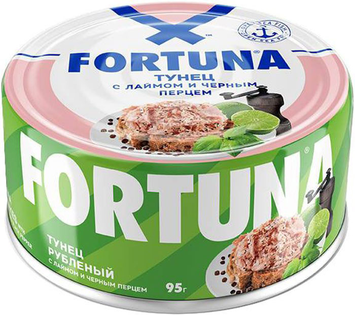 Fortuna тунец рубленый с лаймом и черным перцем, 95 г26133Тунец Fortuna рубленый в масле - это вкусный, легкий и полезный ингредиент для салатов и овощных гарниров в удобной банке с ключом для открывания.
