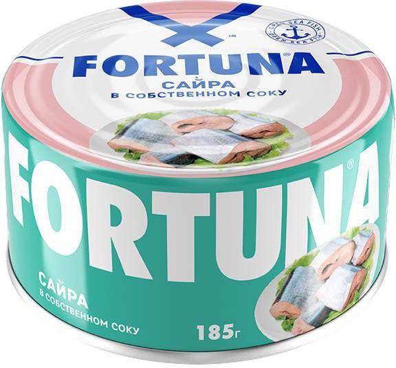 Fortuna сайра в собственном соку, 185 г рузком мясо курицы в собственном соку 325 г