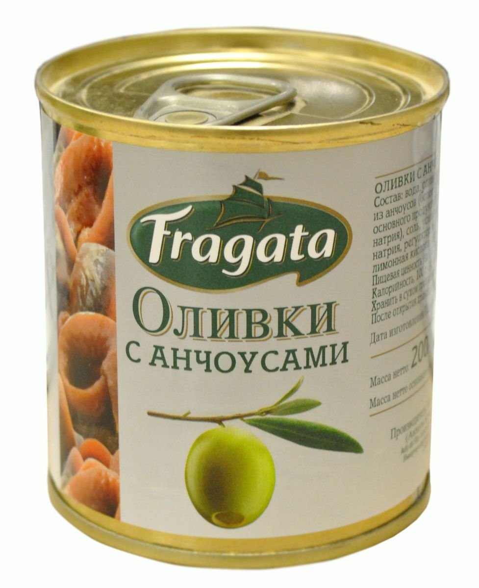 Fragata оливки с анчоусом, 200 г34113Оливки и маслины Fragata из Испании - на любой вкус и покупательские возможности потребителя.
