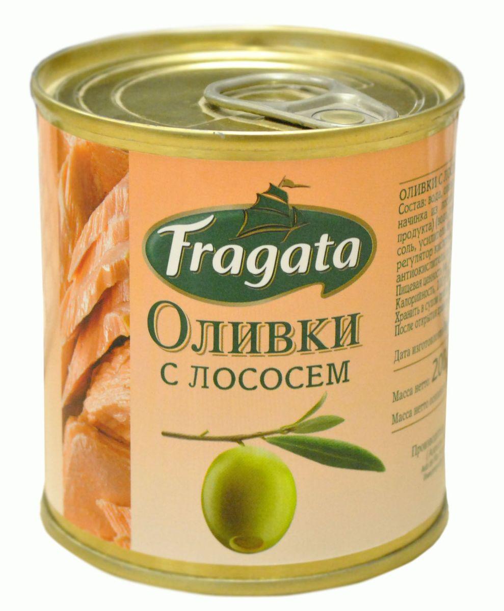 Fragata оливки с лососем, 200 г оливки чёрные pikarome с косточкой в рассоле 3 2 кг