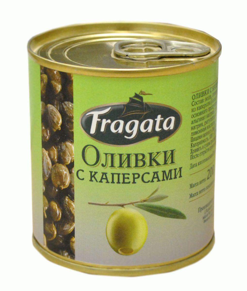 Fragata оливки с каперсами, 200 г оливки чёрные pikarome с косточкой в рассоле 3 2 кг