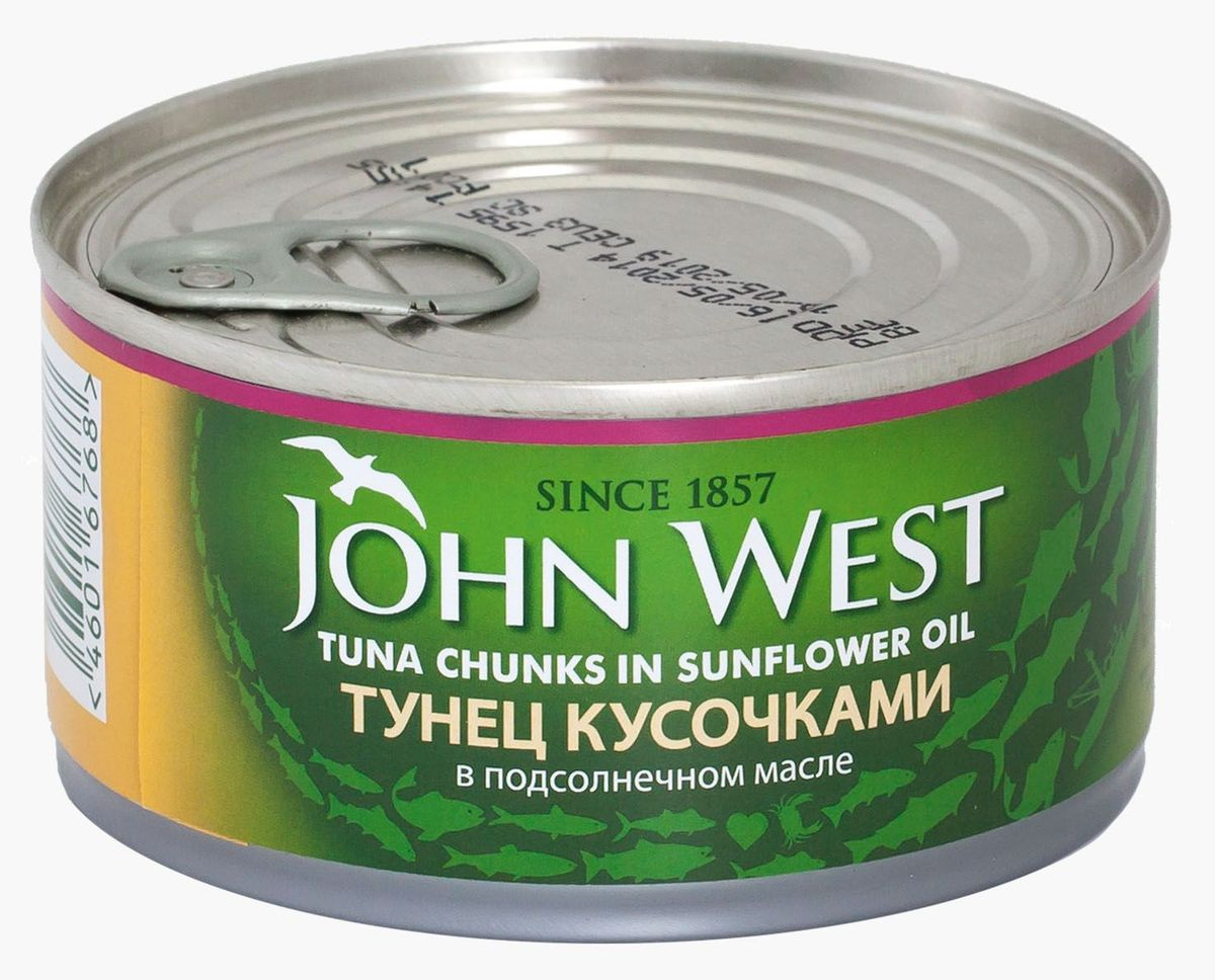 John West тунец кусочками в подсолнечном масле, 185 г64420Деликатный вкус тунца JOHN WEST кусочками в растительном масле делает его прекрасным дополнением различных блюд. С ним можно приготовить легкие сэндвичи, добавлять его в горячие блюда и в салаты. Благодаря минимальному содержанию жира данный продукт может быть включен в рацион людей, следящих за своей фигурой. В его состав входят исключительно натуральные продукты, консерванты отсутствуют. Побаловать себя и своих близких вкусным и полезным тунцом вы сможете в любое время года.
