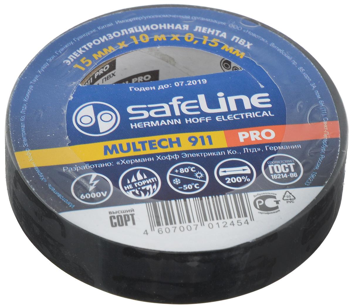 Лента изоляционная Safeline Pro, цвет: черный, ширина 1,5 см, длина 10 м9356Изоляционная лента Safelin Pro сделана из поливинилхлорида - материала, известного своей эластичностью и прочностью. Изолента применяется для изоляции проводов и проведения электромонтажных работ, отлично подходит для маркировки проводов и служит средством для починки бытовых электроприборов.Safelin Pro обладает рядом преимуществ:- напряжение пробоя 6000V,- не горит,- выдерживает температуру от -50°С до +80°С.