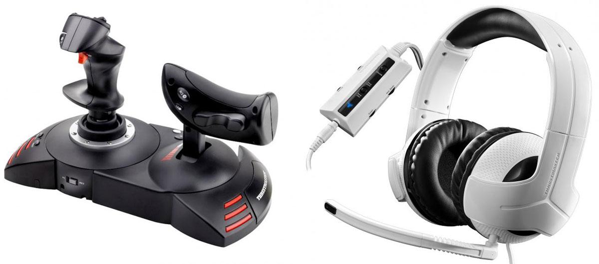 Джойстик Thrustmaster T-Flight Hotas X Warthunder Pack для PS3/PC + игровая гарнитура Thrustmaster Y300CPX для PS4THR55Thrustmaster T-Flight Hotas X - высокочувствительный джойстик со съемным рычагом управления и прямой конфигурацией для моментального взлета.Специальная кнопка Preset (предварительные настройки) для моментального переключения игры с одной системы настроек на другую.Съемный эргономичный сектор газа в натуральную величину.Элементарно простое и быстрое подключение по типу Plug & Play, с набором предварительно настроенных функций (без забот о настройках).Большая опора для руки, обеспечивающая высокий комфорт.Двойное управление: с помощью поворота рукоятки (с интегрированной системой блокировки) или с помощью современного качающегося рычага.Встроенная память для сохранения настроек джойстика. 12 кнопок и 5 осей могут быть запрограммированы.Специальная кнопка Mapping (переопределение): все функции клавиш могут быть моментально изменены.Гашетка торможения (гражданский полет) или быстрого огня (военный полет) + Хат-переключатель (для панорамного обзора).Утяжеленный цоколь для лучшего равновесия.
