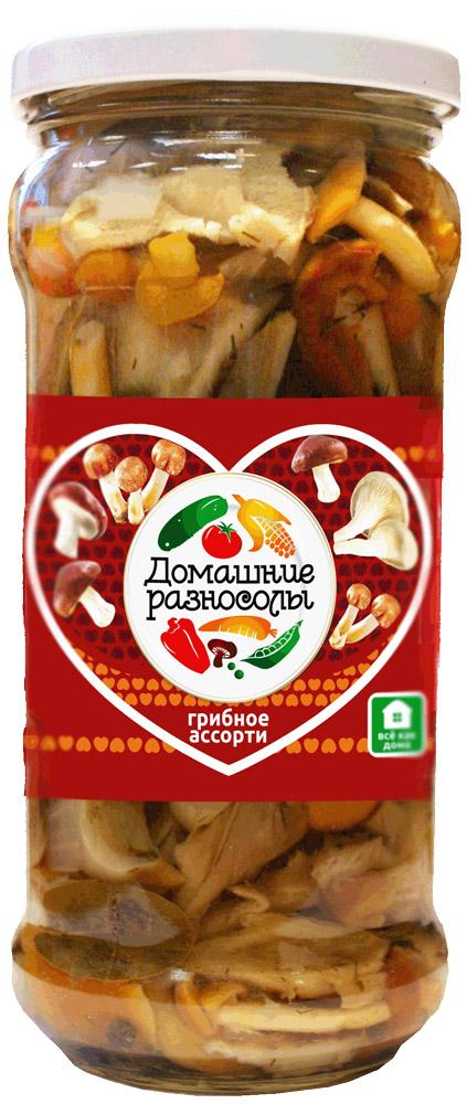 Домашние разносолы грибное ассорти, 580 мл0405212052330001Маринованное грибное ассорти можно подавать к столу в качестве самостоятельной начинки. Помимо того его используют как ингредиент для приготовления салатов, закусок, супов, основных блюд и даже выпечки. В Италии маринованное грибное ассорти добавляют в процессе приготовления таких знаменитых национальных блюд, как пицца или паста.