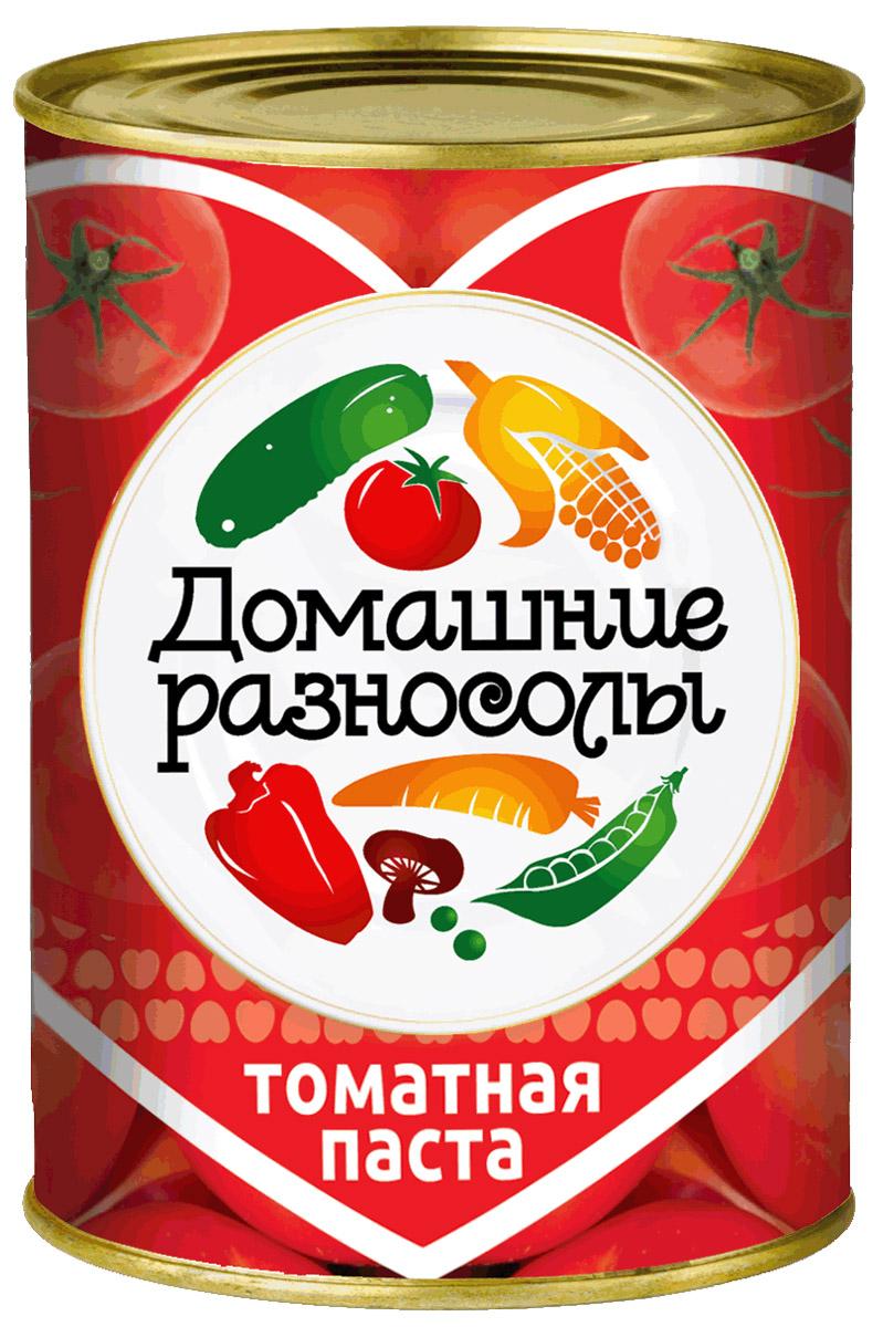 Домашние разносолы томатная паста, 380 г0205814051110000Томатная паста, или томат-паста – это продукт, изготовленный из протертых уваренных помидоров. Томатная паста отличается от томатного пюре концентрацией – в ней больше сухих веществ помидоров, чем в томатном пюре.ГОСТ Р 54678-2011. Массовая доля растворимых сухих веществ 25%.