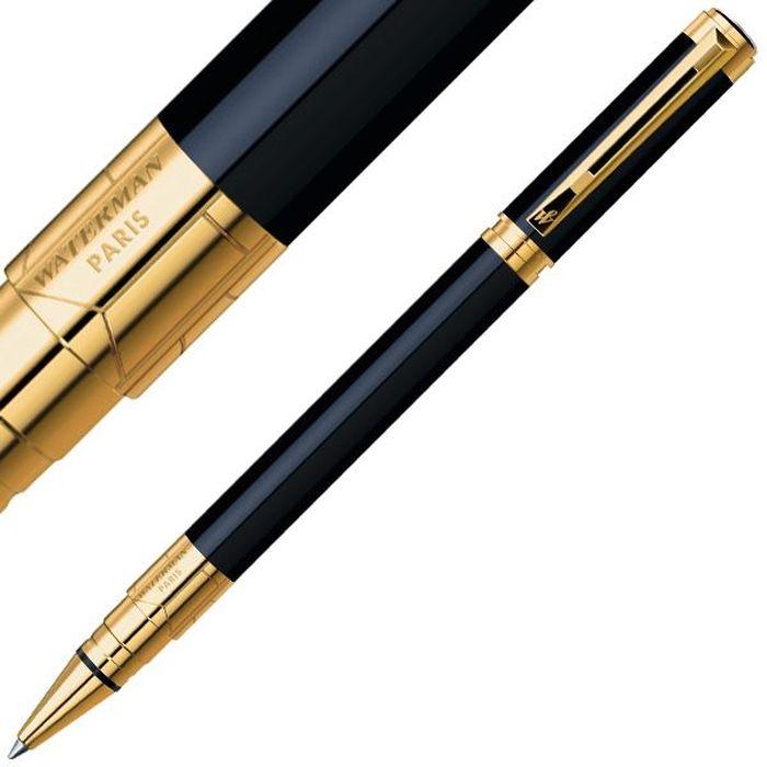 Waterman Ручка роллер PerspeCTive Black GT черная корпус черный золотоWAT-S0830860Материал корпуса: ЛатуньПокрытие корпуса: ЛакМатериал отделки деталей корпуса: Позолота 23КСпособ подачи стержня: С колпачком. Чёрные чернила F.