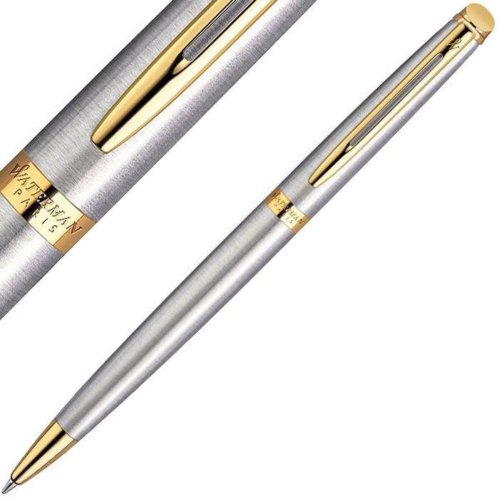 Waterman Ручка шариковая Hemisphere Essential Stainless Steel GT синяя корпус стальной золото -  Ручки